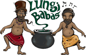 Lungi Babas logo with two men in lungis